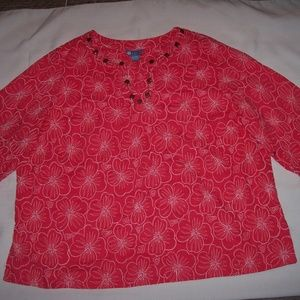 Koret Size 3X Pink/White Embroidery Flowers Blouse